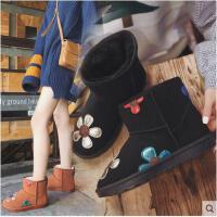 新款冬季韩版平底百搭磨砂皮雪地靴女防滑加绒学生靴子女保暖