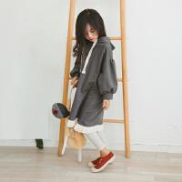 女童连衣裙秋季2017新款长袖休闲连帽宽松裙子中大童儿童长款卫衣