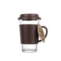 韩国glasslock乐扣钢化玻璃带盖水杯子 情侣咖啡手把杯RC107