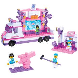 【当当自营】小鲁班粉色梦想女孩系列儿童益智拼装积木玩具 星光舞台车M38-B0253