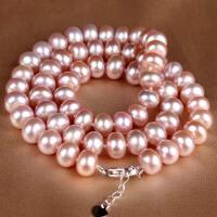 近圆形紫色珍珠项链 001036