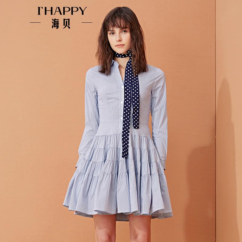 【私人衣橱】细条纹衬衫长袖连衣裙