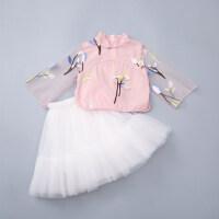女童夏装套装2018夏季中国风两件套唐装裙古风汉服儿童旗袍套