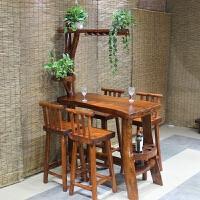 实木吧台桌椅组合家用客厅餐厅隔断玄关酒柜靠墙高脚桌小吧台简约 整装