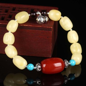 白蜡满蜡随形DIY时尚款手串  配南红桶珠