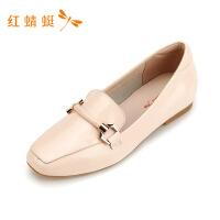 红蜻蜓女鞋低跟新款乐福鞋女秋款粗跟一脚蹬百搭英伦风小皮鞋