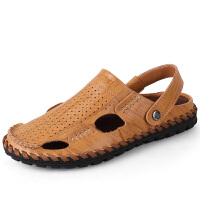 【优质牛皮】男士休闲凉鞋真皮耐磨透气沙滩鞋真皮男鞋 不易臭脚