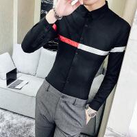 男士长袖衬衫2017新款修身型个性帅气条纹衬衣韩夜店潮流白寸衫