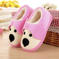 可爱PU皮防水毛棉拖鞋包跟男女宝宝冬季室内居厚底防滑保暖