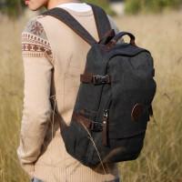 潮款帆布背包男士双肩包电脑包15.6寸大容量旅行包防盗书包女 卡其色