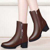 秋冬季新款2017粗跟马丁靴防水台尖头高跟女靴英伦风时尚休闲单靴