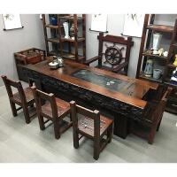 老船木茶桌仿古功夫茶几简茶台中式实木家具古船木茶桌椅组合 整装