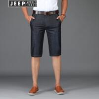 JEEP吉普牛仔裤男薄款短裤2018夏季男士微弹休闲直筒宽松牛仔五分裤