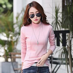 秋冬季新款纯色纯棉女装韩版时尚修身女士纯棉t恤上衣