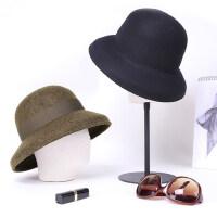 时尚简约百搭毛呢渔夫帽盆帽帽子女复古英伦圆顶小礼帽