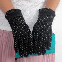 加绒加厚保暖羊毛手套女韩版分指小蝴蝶结保暖手套