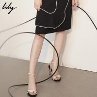 Lily春夏新款女装时尚细条带羊皮高跟露趾凉鞋118210JZ808