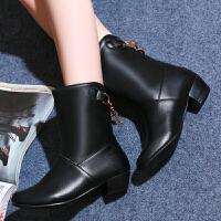 彼艾2017秋冬女士短筒靴时尚中粗跟靴韩范休闲低跟女靴子