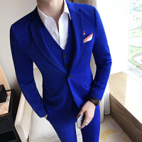 型男宴会绅士简约一粒扣西服马甲西裤三件套装装男士修身小码礼服