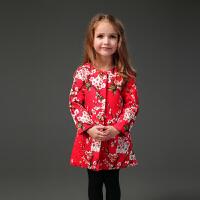 2018�A棉加厚女童冬中�L款大衣外套�W美�t色�L衣�����和���荷弦�