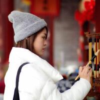 帽子女潮百搭韩版毛线帽日系甜美可爱纯色套头针织帽