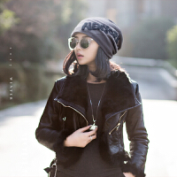 帽子女秋冬韩版潮时尚百搭保暖加绒女士冬天堆堆帽时尚包头冬季毛线帽