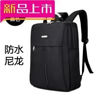 电脑包 双肩包男 背包商务简约时尚休闲15.6寸电脑包大中学生书包 黑色 卡包+密码锁