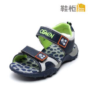 SHOEBOX/鞋柜 夏季新款时尚帅气休闲男童鞋 魔术贴沙滩男童凉鞋