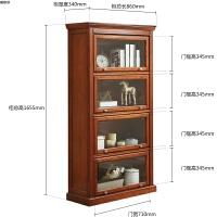 美式实木书柜书架带玻璃门柜子客厅储物柜书橱落地收纳柜用 樱桃色 四层现货速发 0.8-1米宽