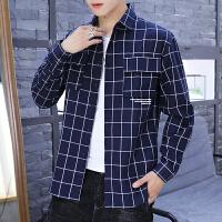 春秋印花格子衬衫男士长袖韩版潮流青少年衬衣