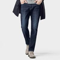 骆驼男装 2019冬季新款潮牌宽松直筒洗水牛仔款男士加绒休闲长裤