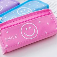 韩国简约帆布手提铅笔袋可爱中小学生大容量文具盒分层笔袋男女孩