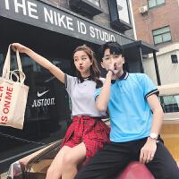 新款情侣装夏翻领短袖T恤工作服 韩版半袖上衣POLO衫