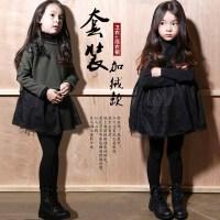 女童冬新款裙子套装2017韩版宝宝刺绣加绒卫衣中大童蕾丝裙两件套