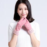 女士手套秋冬季韩版不倒绒手套开车时尚户外保暖手套触屏手套