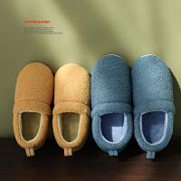 时尚包跟棉拖鞋女老人室内家用秋冬季防滑加厚底保暖带后跟月子鞋产后