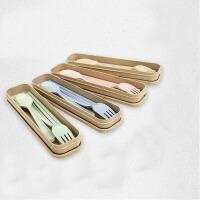 天然小麦秸秆便携三件套叉勺筷儿童学生餐具套装