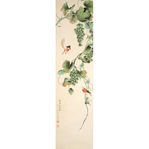 W1843 宋美龄《丰收鸟鸣》(原装旧裱满斑)