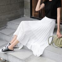 半身裙春夏季女装新款夏季裙子雪纺百褶裙网纱中长裙