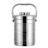 1.6L/2.2L3层大容量保温饭盒双层不锈钢提锅多层便当盒饭桶 原色 三层提锅