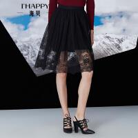 【2件5折】【11月22日上新】海贝冬装新款女装半身裙 蕾丝镂空网纱高腰中裙
