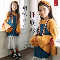 女童长袖打底衫2018新款春季童装韩版中大儿童纯棉喇叭袖宝宝T恤