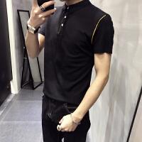 夏装男士翻领短袖polo衫英伦半袖T恤韩版修身商务休闲百搭打底衫