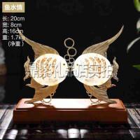 鱼水情婚庆摆件 玉石雕刻工艺品 结婚礼物家居装饰婚房摆设 创意礼品
