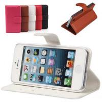苹果iPhone4/4S iphone 5G皮套 手机套荔枝纹左右翻皮套侧翻皮套保护套外壳 荔枝纹左右开带支架手机套