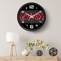 挂钟客厅创意个性时尚艺术装饰挂钟金属静音动感横纹潮流壁钟14英寸