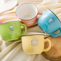 陶瓷咖啡杯马克杯创意杯子大容量喝水杯麦片杯可爱卡通牛奶杯瓷杯