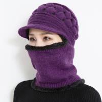 冬季女士帽子围脖围巾一体保暖中老年人妈妈奶奶冬天女骑车防风帽新品 均码【有弹性】