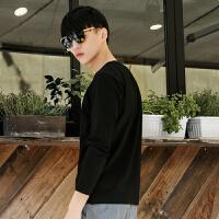 柒牌长袖T恤衫男圆领春夏季男士纯色休闲长袖T恤男时尚修身版