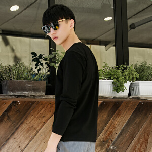 柒牌长袖T恤衫男圆领2017春夏季男士纯色休闲长袖T恤男时尚修身版